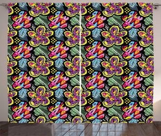 Vibrant Artistic Floral Curtain