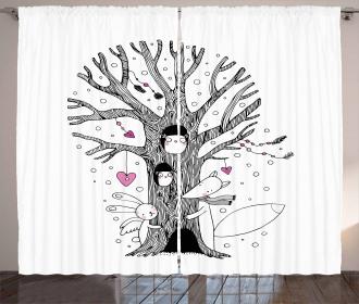 Tree Playing Children Curtain