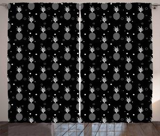 Monochrome Pineapples Curtain