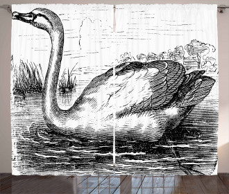 Hand Drawn Swan Design Curtain