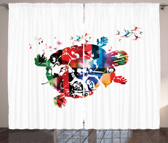 Abstract Turtle Notes Curtain