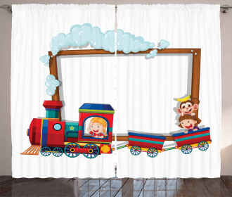 Children on Cartoon Train Curtain