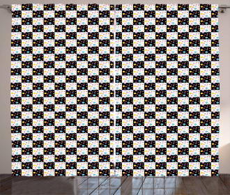 Checkered Dotted Tile Curtain