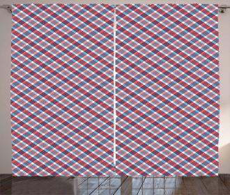 Checkered Diagonal Lines Curtain