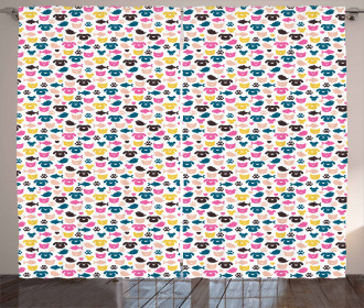 Colorful Cheerful Pets Curtain