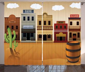 Wild West Village Town Curtain