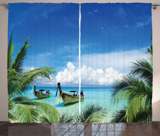Palm Beach Fishing Boats Curtain