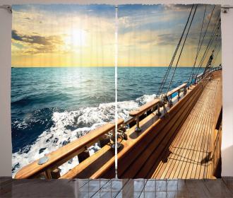 Yacht on Sea Sunset Curtain
