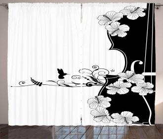 Bird Lily Petals Curtain