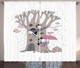 Bunny Family Rain Birds Curtain