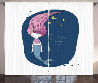 I Love Sea Cartoon Girl Curtain