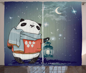 Panda Bear Winter Night Curtain