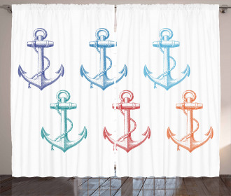 Colorful Anchor Marine Curtain