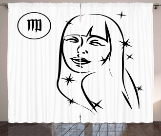 Woman with Stars Curtain