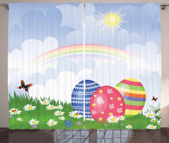 Spring Meadow with Eggs Curtain