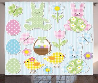 Pale Nursery Bunnies Curtain