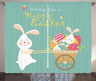 Smiling Bunny Eggs Curtain