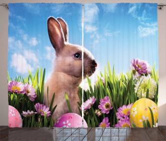 Eggs and Fluffy Bunny Curtain