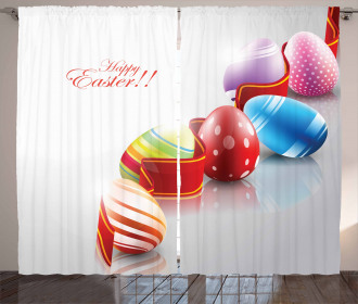 Ribbon and Colorful Eggs Curtain
