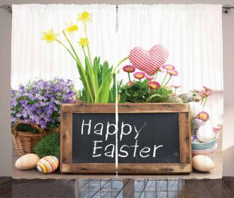 Flowers Eggs on Table Curtain