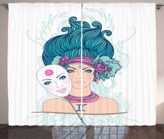 Young Lady Mask Curtain