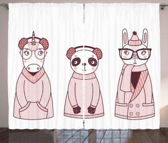 Cartoon Winter Animals Curtain