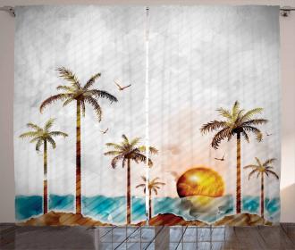 Tropic Landscape Art Curtain