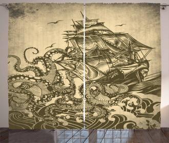 Ocean Navy Sail Waves Curtain