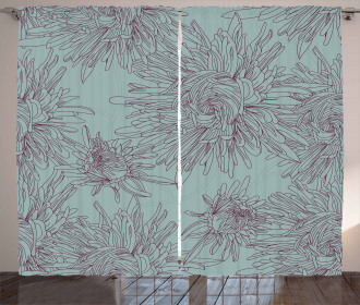 Aster Blossoms Artwork Curtain