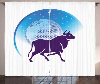 Globe Stars Bull Curtain
