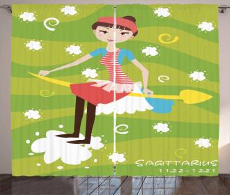 Girl on an Arrow Curtain