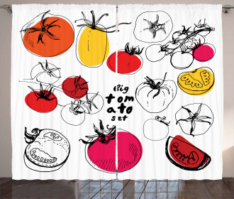 Vivid Sketched Tomatoes Curtain