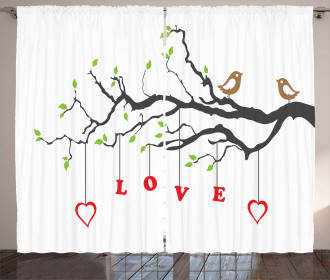 Birds Sitting on a Branch Curtain