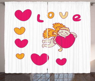 Cartoon cupid Hugs a Heart Curtain