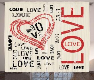 Vintage Love Lettering Curtain