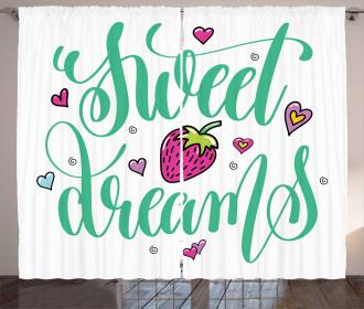 Hearts Strawberry Curtain