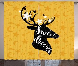 Silhouette of Deer Curtain