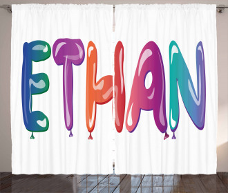 Balloons Happy Birthday Curtain
