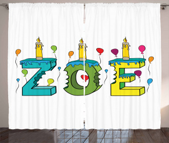 Colorful Birthday Candles Curtain