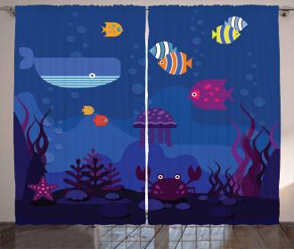 Aquarium Fish Whale Curtain