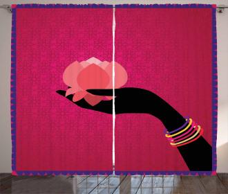 Woman Hand Silhouette Curtain