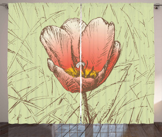 Romantic Flower Sketch Curtain