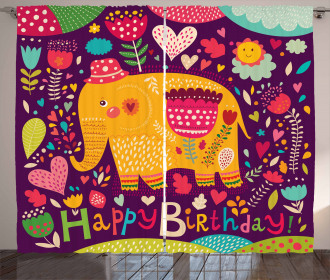 Doodle Birthday Animal Curtain