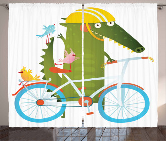 Crocodile Friends Bicycle Curtain