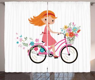 Happy Girl on Bike Flowers Curtain