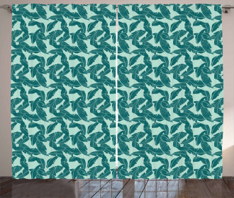 Abstract Palm Leaves Curtain