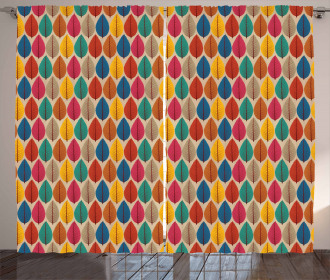 Fallen Leaves Colorful Curtain
