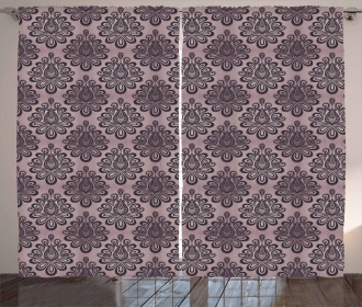 Damask Black Motifs Curtain