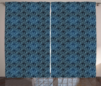Blue Ornate Flourish Curtain