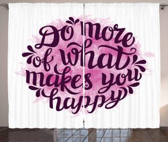 Watercolor Brush Slogan Curtain